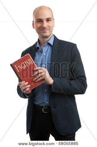 Business English Concept. Man With Book