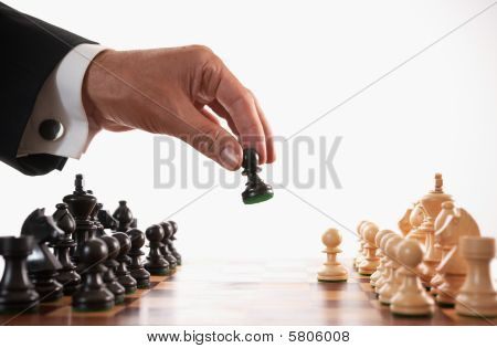 Businessman Playing Chess Game Selective Focus