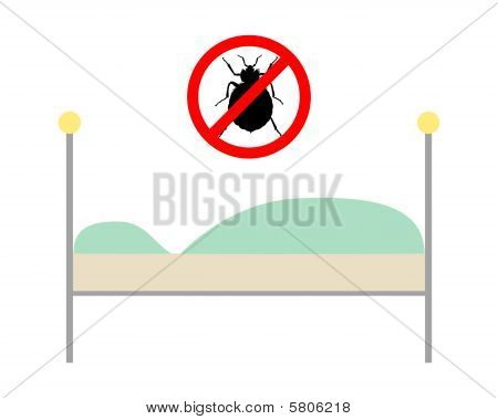 Prohibition Sign For Bedbugs Above A Bed