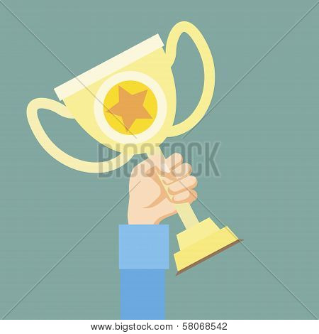 flat design style hand holding golden bowl victory concept vector
