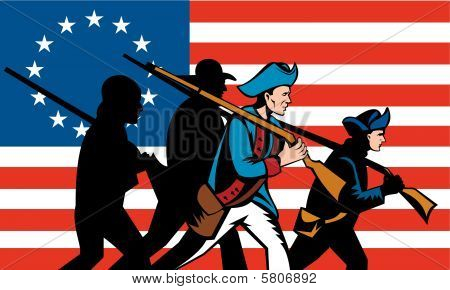Milícia americana marchando com fuzil e bandeira ao fundo