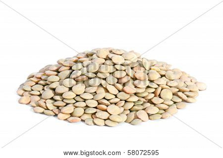 Pile Green Lentils Isolated On White Background.