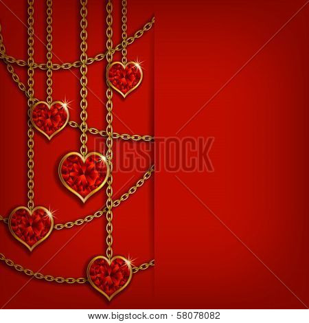Hearts from ribbon. Valentine's day background.