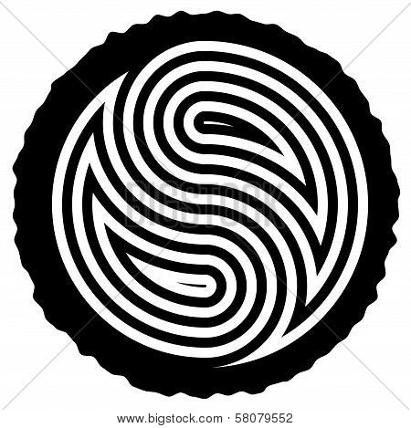 Vector Black And White Wooden Log Cut With Yin And Yang Symbol