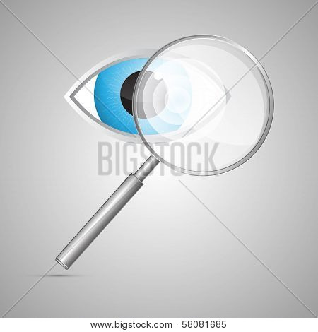 Vector Magnifying Glass And Blue Eye