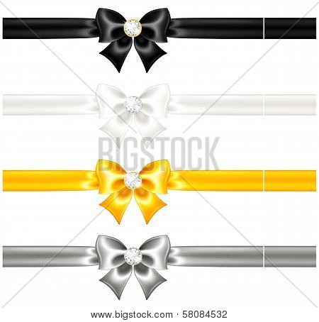 Silk Bows Black And Gold With Diamonds And Ribbons