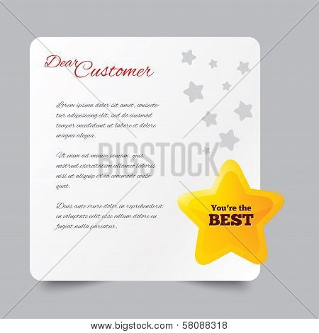 Customer service letter. Thank you for buying.