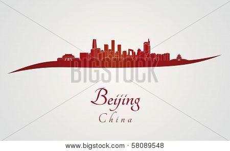 Beijing Skyline In Red