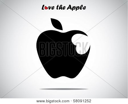 An Apple With A Leaf With A Heart Shaped Bite Icon - Concept Design Vector Illustration Unusual Art