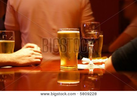 Beer Glass On Table