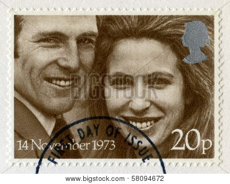 Princess Anne And Mark Phillips Royal Wedding Postage Stamps