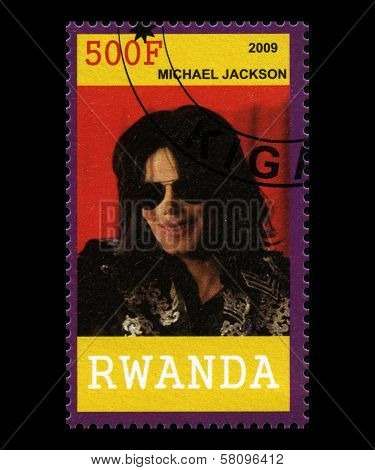 Michael Jackson Postage Stamp From Rwanda