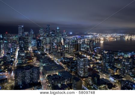 Seattle Skyline At Night From Air