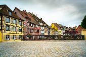 Colmar, Petit Venice, Bridge And Traditional Houses. Alsace, France.