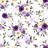 picture of ivory  - Vector seamless pattern with purple and white lisianthus flowers - JPG
