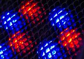 Small Fresnel Lens Arranged In Array With Blue And Red Leds Behind