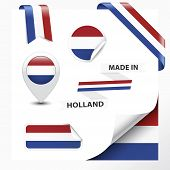 foto of holland flag  - Made in Holland collection of ribbon label stickers pointer badge icon and page curl with Netherlands flag symbol on design element - JPG