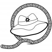 stock photo of lien  - a beautiful illustrated stamp of a cowboy hat and a rope - JPG