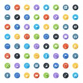 stock photo of universal sign  - Vector set of modern trendy flat and colorful universal web icons with long shadow - JPG