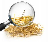 stock photo of haystacks  - hand lens that magnifies a needle in a haystack - JPG