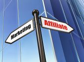 Business concept: sign Affiliate Marketing on Building background