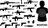 image of uzi  - vector collection of weapons isolated on white - JPG
