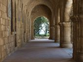 stock photo of filerimos  - Monastery of Our Lady of Filerimos mountain of Rhodes Greece photo monastery arcade gallery - JPG