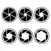 stock photo of octagon shape  - camera shutter symbols vector illustration - JPG