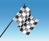stock photo of dragster  - vector racing checkered flag and blue sky - JPG