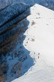 People Walking On Ridge, Mount San Primo (north Italy)