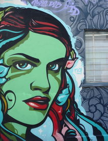 pic of street-art  - Aerosol painting of woman on wall on Young Street - JPG