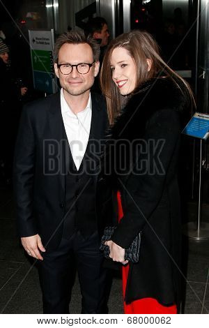 NEW YORK-MAR 13: Actor Christian Slater (L) and wife  Brittany Lopez attend the 'Nymphomaniac: Volume 1' screening at The Museum of Modern Art on March 13, 2014 in New York City.