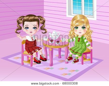 Tea Party with 2 Girls