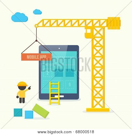 Flat style vector illustration concept of mobile app developement