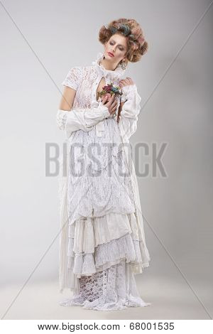 Finery. Glamorous Lady In Elegant Lacy Dress