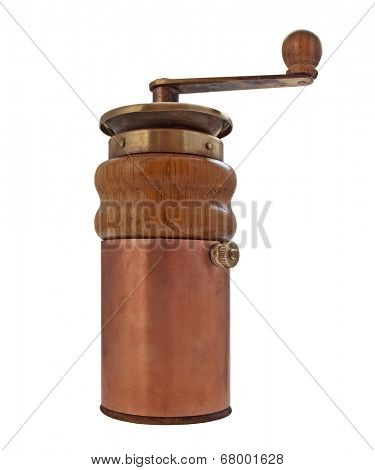 vintage coffee grinder mill over white, clipping path