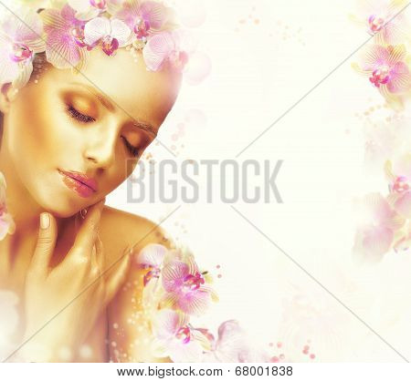 Relaxation. Dreamy Genuine Exquisite Woman With Flowers. Romantic Floral Background