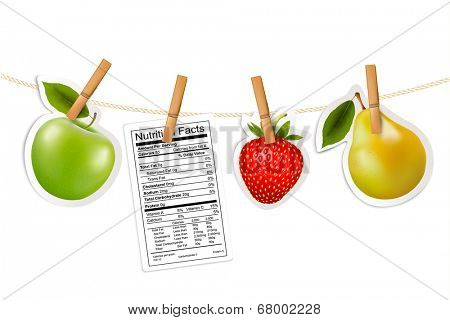 Fruit stickers and a nutrition label hanging on a rope.