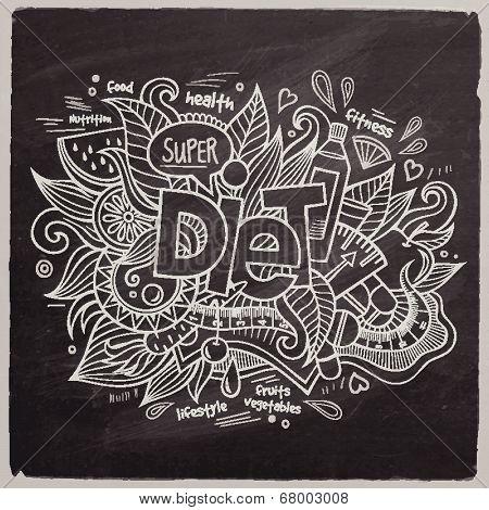 Diet Vector hand lettering On Chalkboard