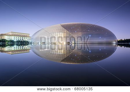 BEIJING, CHINA - JUNE 23, 2014: National Centre for the Performing Arts. The futuristic design stirred controversy when the theater was completed in 2007.