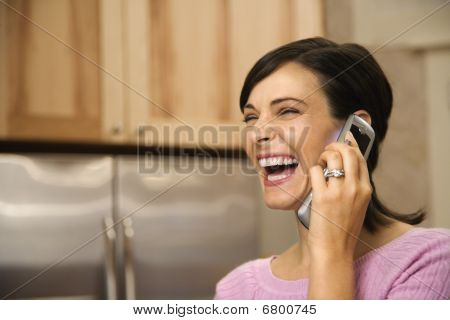 Woman On Cell Phone Laughing