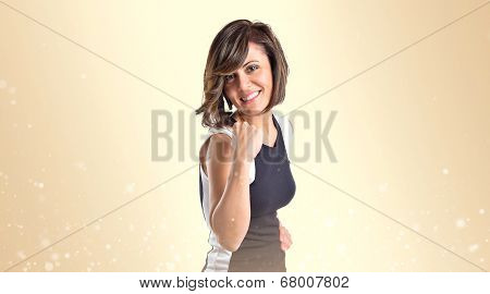 Lucky Woman Over Ocher Background