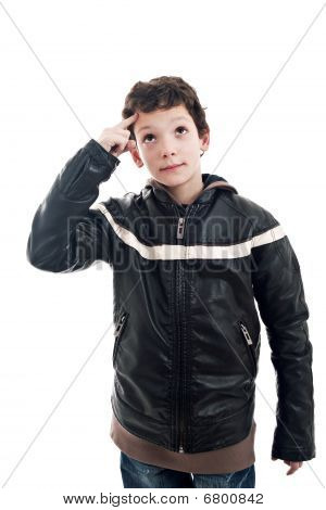 Cute Boy Looking Up, With Hand As A Sign Of Having An Idea