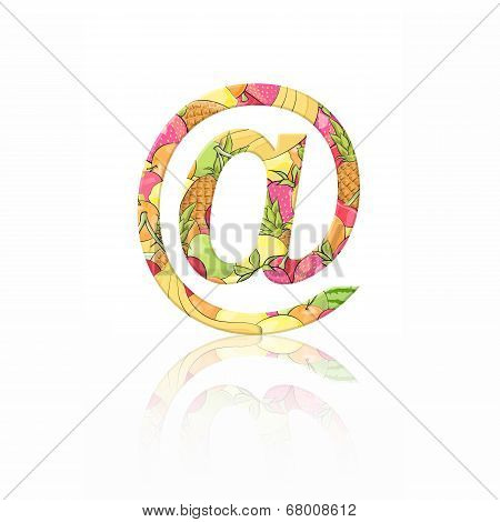 Letter Arroba With Fruit Effect Over White Background