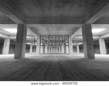 Empty Dark Abstract Industrial Underground Concrete Interior. 3D Illustration