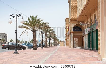 Ras Tanura, Saudi Arabia - May 10, 2014: Street View With Palms, Saudi Arabia