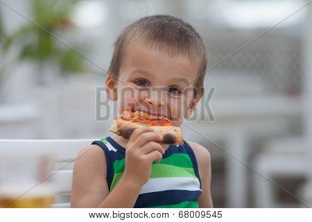 Adorable Boy, Eating Pizza