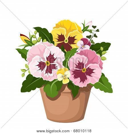 Pansy flowers in a pot. Vector illustration.