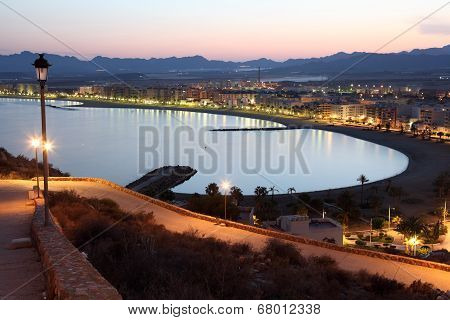 Town Aguilas At Night. Spain