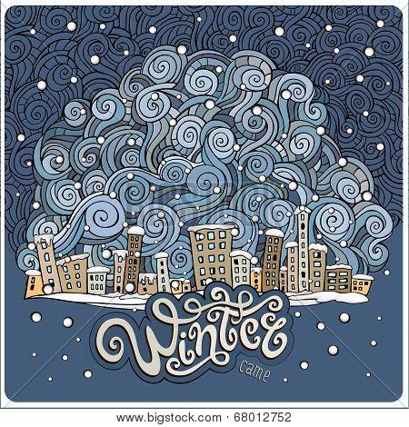 Vector cartoon winter fairytale town
